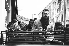 The Man With The Beard (JoeBazuka) Tags: blackandwhite bw london beard fuji south kensington stylish x100s