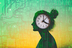 Time (matejpaluh) Tags: sunset shadow clock girl beautiful face silhouette electric time doubleexposure board profile multipleexposure electronics electronic circuit