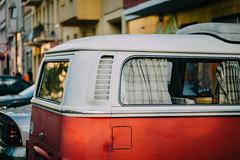 VW Bus (freyavev) Tags: city red urban detail bus berlin vw germany volkswagen deutschland 50mm vehicle curtains urbanfragments vsco