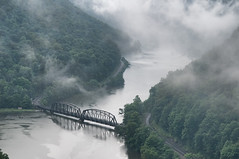 Hawk's Nest in the rain (Thankful!) Tags: bridge mist rain fog clouds river railway westvirginia valley gorge hawksneststatepark railwaytrestle