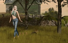 Apples (Jamee Sandalwood - Miss V SWEDEN 2015) Tags: summer art girl field grass fashion female outside outdoors photography photo model exposure photographer 500v20f artistic tshirt sl jeans secondlife virtual blonde apples braids envogue artphotography slfashion fashionartphotography finesmith