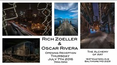 ..If you happen to be in the area of Baltimore Maryland on July 7th 2016 please stop by the Alchemy Of Art Gallery 7pm-11pm and say hello and check out the work of Oscar Rivera and myself.  The exhibit will be up and running until the 31st of july..... (**THAT KID RICH**) Tags: art md gallery july maryland exhibit baltimore exhibition easternave quietstorm tkr baltimoremaryland july7th oscarrivera thatkidrich richzoeller alchemyofart