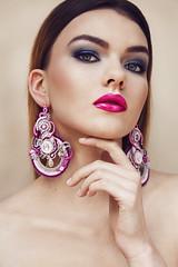 Klaudia (Barbara Duchalska) Tags: red beauty make up portrait model polish poland duchalska burgundy pink eyes lips jewellery mielec polishmodel girl polishgirl earrings smokey