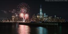New York Pride Fireworks - 2016 (DSC01757) (Michael.Lee.Pics.NYC) Tags: newyork reflection newjersey jerseycity fireworks sony pride newport hudsonriver lowermanhattan 2016 voigtlandernoktonclassic35mmsc14 a7rm2