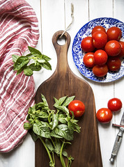 (donna leitch) Tags: tomatoes basil knife cuttingboard stilllife linen donnaleitch