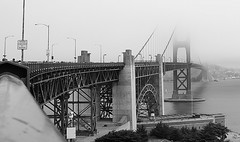 Golden Gate II (Eduardo Ruiz M.) Tags: california bridge bw mist monochrome fog golden gate san francisco outdoor sfo foggy