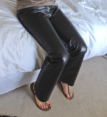 IMG_1918 (heellover91) Tags: red woman sexy feet girl leather foot bedroom toes pants sandals thong strappy