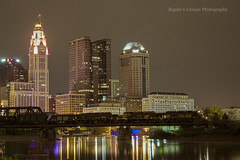 Ohio Central Downtown (Rigsby'sUniquePhotography) Tags: railroad bridge columbus ohio night downtown central locomotive