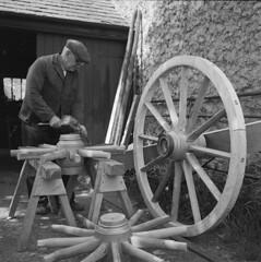 Gruffydd Williams, 71 years old, from Ty'n Coed, Bodffordd, Anglesey – a wheelwright by trade (LlGC ~ NLW) Tags: wales crafts cymru trade llyfrgellgenedlaetholcymru nationallibraryofwales ynysmôn wheelwright bodffordd filmnegatives angleseywales charlesgeoff19092002 negyddffilm