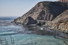 Another Bridge (huskyte77) Tags: california road street trip travel bridge november blue vacation sky cliff usa mountain black building green weather rock stone america canon landscape eos coast bush highway flickr surf day view unitedstates outdoor bare united hill azure rocky clear shore lucia modified states gps range 2012 topaz ware 2470mm ca1 canonef2470mmf28l cabrillohwy canoneos1dmkiii