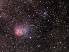 M20 and M21 (Daniele Malleo) Tags: sky stars space telescope galaxy nebula astrophotography astronomy galaxies ccd astrophoto qsi nebulae deepsky narrowband Astrometrydotnet:status=solved Astrometrydotnet:version=14400 Astrometrydotnet:id=alpha20130556259776