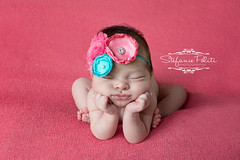 Baby Madelyn (njmommyof3boys) Tags: pink baby flower girl coral teal blanket newborn beanbag headband