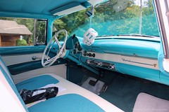 Interior (Heather Tyson) Tags: show blue windows white dice ford beautiful car wall wings power fuzzy colonial engine peacock victoria tires chrome seats restored crown 1956 thunderbird luxury 56 fins fairlane