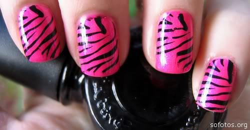 unhas decoradas zebra pink