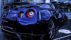 GT-R (Sirius-Art) Tags: blue red reflection car nikon nissan cloudy iso dorset editing 100 bournemouth gtr 18mm d3000