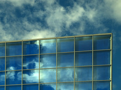 (Vlado V) Tags: blue ireland sky dublin cloud reflection glass olympus helix dcu e510