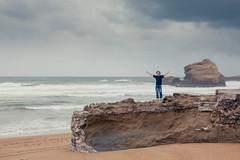 free ({cindy}) Tags: ocean boy sea storm beach rain clouds freedom rocks space openarms