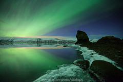 Northern Lights and Reflection (baddoguy) Tags: sky lake reflection ice beach water iceland northernlights auroraborealis rockformation