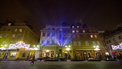 Castle Square (itspaulkelly) Tags: christmas winter snow night dark lights evening poland polska wideangle christmaslights warsaw fairylights warszawa staremiasto starwka placzamkowy castlesquare warsawoldtown