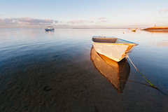 Row Boat, Sanur, Bali (gazrad) Tags: travel sea sky bali colour reflection beach water horizontal sunrise indonesia boat still solitude wideangle calm destination rowboat sanur secluded moored traveldestination