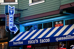 Nico's (Jeremy Brooks) Tags: sanfrancisco california usa lights restaurant eyes neon tacos northbeach arrow speakeasy sanfranciscocounty beerneon