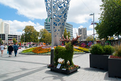 Great set of Antlers (Jocey K) Tags: flowers trees newzealand christchurch sky people signs building art architecture clouds design display earthquakedamage arctiecture 25thanniversaryofthefestivalofflowers