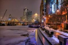 Snowy riverwalk night (johndecember) Tags: winter usa snow wisconsin gallery album january milwaukee handheld snowing hdr mke 2014 canonef40mmf28stm