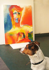 A Dog's View: Ivan Massow by Stephen B Whatley (Stephen B. Whatley) Tags: uk blue red shirtless portrait orange dog pet man male london art yellow entrepeneur painting time contemporaryart modernart taxi handsome hunk master bbc jackrussell heat expressionism obama soe toweroflondon oilpainting towerhill westminstercathedral timemagazine barackobama londontransportmuseum sirianmckellen blueribbonwinner barbarawindsor whatley judidench damejudidench sarahgreene francesbarber abigfave juliewalters sianphillips presidentobama goldstaraward virginiamckenna stephenbwhatley theroyalcollection ivanmassow towerhillunderpass bbcheritage michaelmansfieldqc colourfulpainting artiststephenbwhatley tvpresentersarahgreene carolroyle ivanmassowtaxi