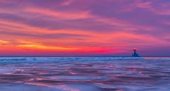 Icy Harbor Reflections (tquist24) Tags: longexposure winter sunset sky reflection ice clouds reflections geotagged evening nikon unitedstates michigan stjoseph lakemichigan saintjoseph stjosephharbor nikond5300