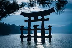 Itsukushima Shrine (Type-SYU) Tags: leica blue sea monochrome japan backlight landscape 50mm mono landscapes fuji hiroshima  fujifilm torii    hiroshimaken          hatsukaichishi