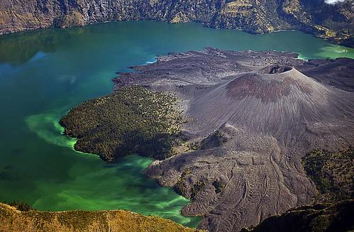 Crater lake Segara Anak located in Mount Rinjani, Lombok, Indonesia