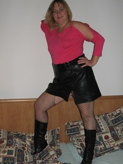More of a stylish look (kathyledford) Tags: pink black leather belt boots top wide skirt blouse heels
