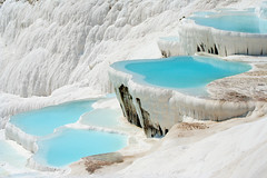 Pamukkale basins (yselel) Tags: travel white fall tourism water pool closeup turkey landscape known waterfall healthy antique unique famous salt terraces cyan places landmark calcium ukraine basin hills falling pools limestone mineral flowing traveling geyser carbon bathing travertine cascade kale turkish attraction pamukkale geysers flows basins pamuk carbonates