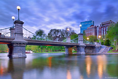 Evening Lights (A. Shamandour) Tags: new city bridge light sunset england sky lake storm motion color building water boston clouds speed sunrise reflections boats lights evening moving cityscape slow massachusetts common scape towards shutterspeed waterscape embient