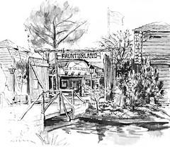 Frontierland, 1965 illustration (Tom Simpson) Tags: illustration vintage sketch disneyland disney 1960s vacationland 1965 frontierland vintagedisneyland vintagedisney