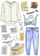 Ready for Valentines Day - Cindy Mangomini (Cindy Mangomini) Tags: fashion illustration watercolor drawing valentine watercolour illustrator valentinesday handdrawn whatiwore fashionillustration fashiondrawing illustratedlife mangomini cindymangomini whatiworeindrawings