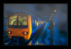 The Dark Stranger (Kevin From Manchester) Tags: mist station fog train reflections manchester lights track northwest transport railway piccadilly lancashire railwaystation citycentre hdr railwaylines
