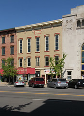 Mayo's Hall  Troy, Ohio (Pythaglio) Tags: county street blue trees windows ohio sky building brick cars sign plaque altered 22 hall miami painted troy 11 structure historic sidewalk commercial storefronts brackets 1854 cornice italianate mayos hoodmolds sills threestory pedimented mia175