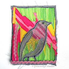 Gray Catbird (JoMo (peaceofpi)) Tags: canada bird thread animal sewing journal fabric quilting variegated textileart catbird artquilt rawedge threadart peaceofpi