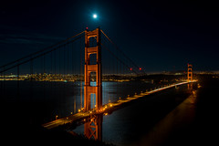 Golden Gate Bridge and moon (taggartgorman) Tags: sanfrancisco moon goldengatebridge marinheadlands