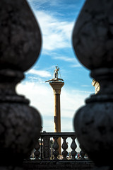 San Teodoro, the First Patron Saint of Venice (San Marco) (filippogatteschi) Tags: frame natural san teodoro statue venice venezia contrast background foreground focus central center colors high marco piazza square italy travel marble stone statua saint patron santo patrono laguna lagoon bluesky clouds canon eos 70d tamron 24 70 2470 darks
