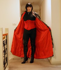 Inadvertent Unveiling (9) (Furre Ausse) Tags: red black leather asian opera long boots coat chinese gloves corset oriental satin catsuit