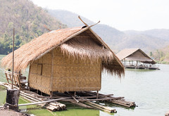 Selective focus point on Floating house in a water storage dam. (leykladay) Tags: travel house mountain nature water comfortable forest relax floating storage selective traveler fiocus