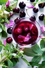 Cherry & wild rose petals lemonade (foodpornveganstyle) Tags: wild food fruits rose petals vegan cherries drink lemonade vegetarian foodphotography ra czerenie dzika kompot foodstyling winie patki foodpornveganstyle