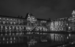 Louvre (Peter & Olga) Tags: nightphotography bw paris reflection fountain louvre palace series d700 olgabaldock