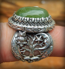 Taliesin Favor An tdh 'Nocht 17.3ct peridot set in Tree of Life moon owl trinity and Greenman design (leespicedragon) Tags: summer taliesin moon art ooak goddess jewelry rings luck owl handcrafted celtic treeoflife greenman triskelion triquetra peridot statementrings spicedragon marvinleebillings antadhnocht