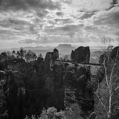 Bastei (OliBee) Tags: canon landscape eos schweiz 1d l 16mm landschaft elbe bastei schsische rathen 1635 schwarzweis basteibrcke