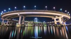 Rainbow Bridge Loop (muuu34) Tags: bridge urban japan architecture night port landscape tokyo bay rainbow cityscape nightscape loop scene line wharf   yurikamome