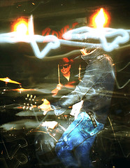 img157_192 ED Woods (wiggle 3D, look at the original size) (yoshing_BT) Tags: wiggle animated animatedstereo stereophotography stereograph wiggly wiggle3d pikupiku  pikupiku3d parallax motion   3d animatedgif animationgif wigglegram wigglephoto nimslo nimslo3d filmcamera filmphoto musician livemusicphotography liveconcert nightclub rockband rockmusic guitarist guitarplayer longtimeshutter longexposure punk punkrock