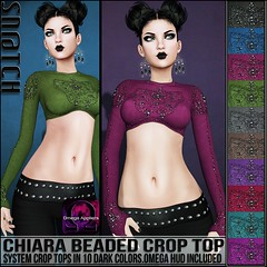 Sn@tch Chiara Beaded Crop Tops Dark Vendor Ad LG (Tess-Ivey Deschanel) Tags: sntch snatch secondlife sl second life iveydeschanel ivey ihearts clothing clothes costumes clubwear cyberpunk casual boho beaded crop tops omegasystem omega outfits specials sale saleprice gothic goth gaming game fashion fatpack humpday